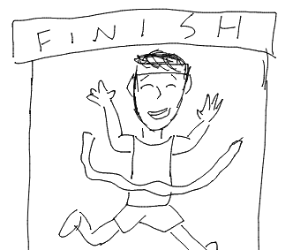 winning a race by running through a ribbon