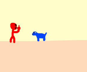 Red boi flips off blue doggo