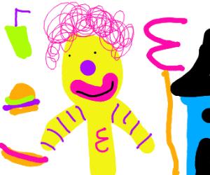 Knock off Ronald McDonald with pink hair.