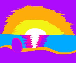 Purple egg on a sunset beach