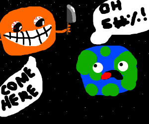 sun looks at earth with a murderous grin