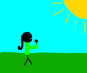Woman wearing a TURTLENECK curses the sun
