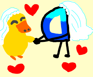 Drawception D gets married to a duck