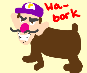 walugi-faced dog barks