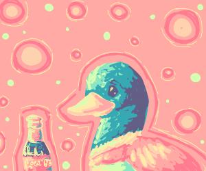 A duck drinking coke