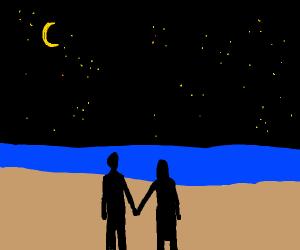 Nighttime Walk on the Beach