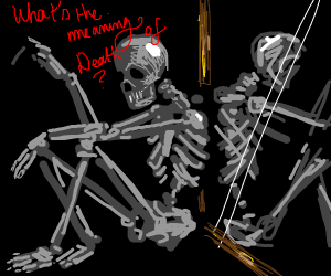 Skeleton in Mirror, Ponders Meaning of Death