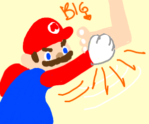 Mario punching big foot
