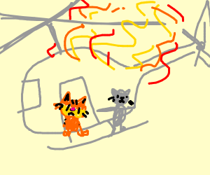 Garfield & greycat in a burning helicopter