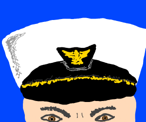A closeup of an angry admiral