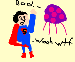 Superman sees a big purple jellyfish