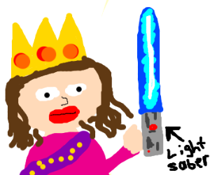 queen with a lightsaber