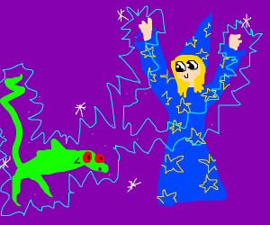 Cute wizard zaps a lizard monster w two legs
