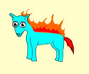 blue pony with a fiery mane