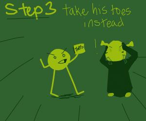 Step 2. Put Shrek's Head back onto his body