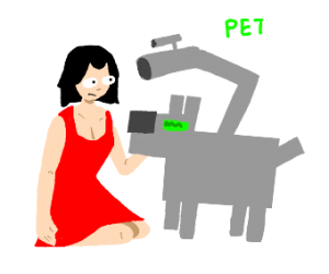 woman at the gun point forced to pet robo-dog