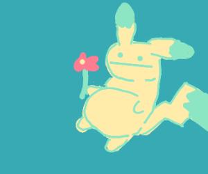 Cute pikachu offers you a flower