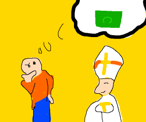 Guy thinks about money in front of the Pope