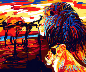 two lions looking at the sunset