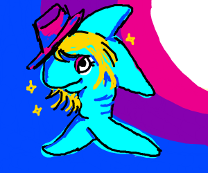 Fish with blonde hair and hat