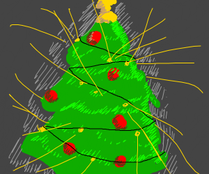 Christmas tree glows with light