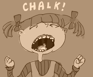 "Girl, probably from ""Rugrats,"" wants chalk."