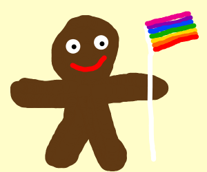 Gingerbread man holds rainbow flag
