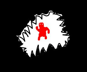 creepy guy waving in darkness