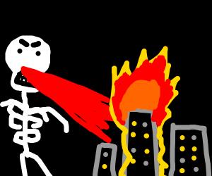 giant flaming skeleton annihilating megacity