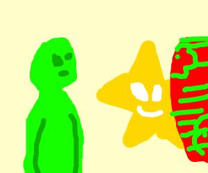 alien watching a star steal his skateboard