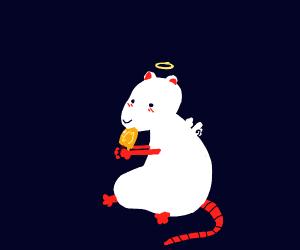 Rat angel eats a popsical