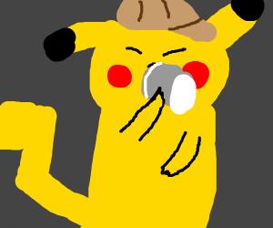 Pikachu drinking coffee