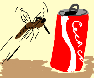 mosquito rushes toward cola