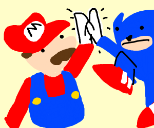 mario and sonic high fiving