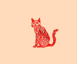 a red cat (?) with black stripes