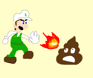Luigi throwing fireball at poop