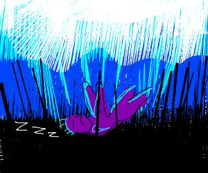 purple man sleep falling