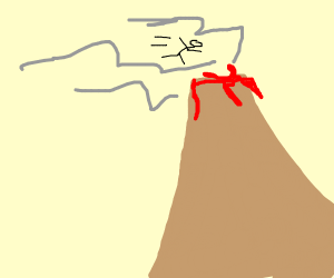 stickman jumps in vulcano