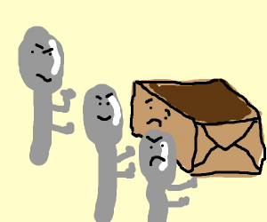 Three spoons gang up on a box