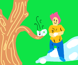 guy having a freindly conversation with tree