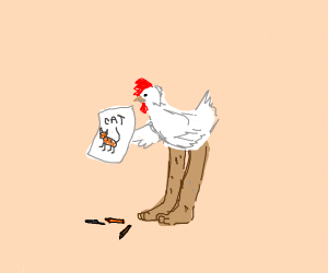 Chicken with Human Legs has Drawing of Cat