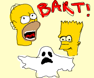 homer's mad at bart (with a ghost?)