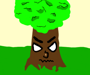A forest with an angry tree
