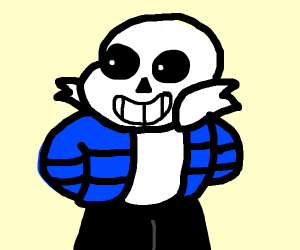 sans in blue jacket and boxers