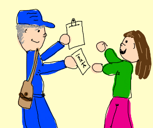 mailman delivering an invitation & clipboard