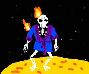 A skeleton in a housecoat burning on the sun