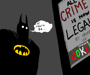 Batman looks shocked at poster?