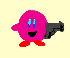 Kirby with a giant hanheld gun