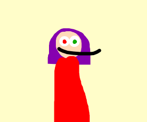 a girl with purple hair and strange eyes