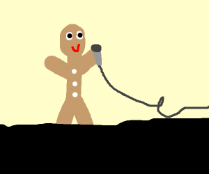 Ginger man with a microphone